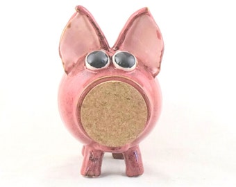 Handmade  Stoneware Pottery Piggy Bank, Ceramic Piggy Bank, Pink Piggy Bank, Piggy Bank with Removable Cork, Children's Gifts, Pottery Gifts