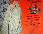 Vintage 1954 Sheet Music Hey There The Pajama Game Broadway Musical Comedy Production Cute Cover Art 1950s