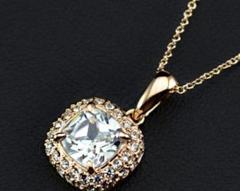 18K Rose Gold Plated Princess Cut CZ Pendant Necklace
