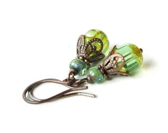 Aqua glass earrings - green blue Picasso Czech beads & copper