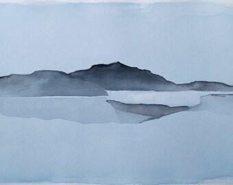 Original watercolor painting. Landscape painting. Watercoor landscape. Abstract landscape. Minimalist.