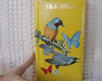 1970s Photo Album for Kodak Instamatic Pictures, Vintage 70s Bird & Butterfly Cover