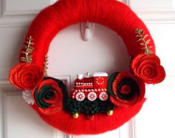 Christmas yarn wreath/Christmas wreath/red Christmas wreath