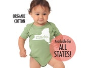 All States 'Made' Organic Cotton Infant One Piece • Made in the USA