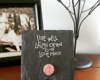 Live Well Laugh Often Love Much 4x4 Stand-alone Wine Cork Slate Plaque - Wine Lover, Friend, Mom, Grandma, Saying, Sign