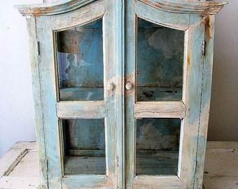 Large display cabinet distressed French blue and white wood and glass showcase very heavy well made antique home decor anita spero design