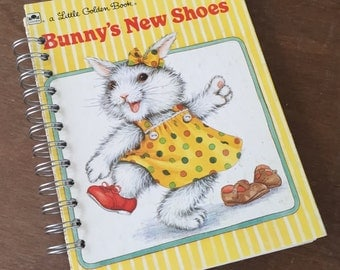Bunny's New Shoes Little Golden Book Recycled Journal Notebook