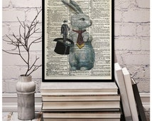 "Magician Rabbit out of the Hat Trick,"" Reversal"" Pop Art Play Rabbit Pulling Man out of Hat, Vintage Dictionary Page Art Print, 8x10.5"