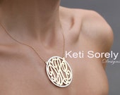 Gold Monogram Necklace with Silver Frame - Small To Large Size Initials (Order Any Initials) - Sterling Silver with yellow or Rose Gold