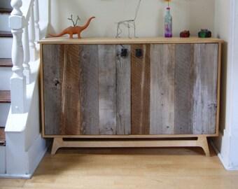 birch u0026 barn wood credenza with reclaimed wood doors and a danish modern base
