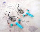 Turquoise Hoop Spike Earrings / Blue Belly Dance Earring / Tribal Gypsy Ethnic Jewelry