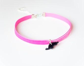 Dinosaur Choker in Hot Pink Velvet Adjustable Tiny Plesiosaur Choker.Nineties Inspired Dino Choker Necklace.Black Choker.Gifts for Teens.