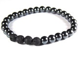 304. Hematite ~ Unisex Black Lava Aromatherapy Diffuser Stretchy Bracelet for Essential Oils