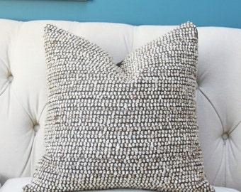 designer gray and brown pillow cover brown gray ivory woven geometric pillow cover modern - Designer Throw Pillow