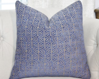 Schumacher Pillow Cover - Blue and Taupe Geometric Pillow - Greek Key Pillow Cover - Throw Pillow - Chenille Designer Pillow - Mid Century