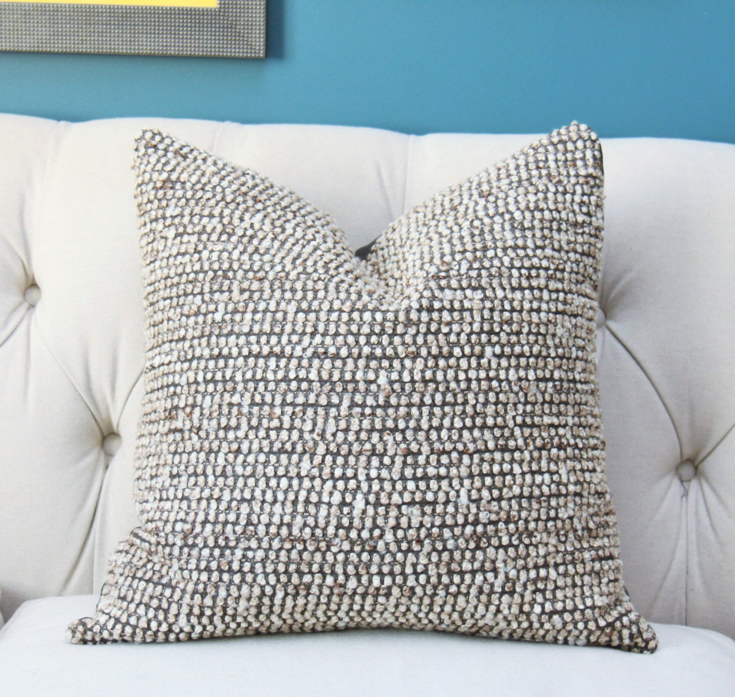Designer Gray And Brown Pillow Cover Brown Gray Ivory Woven