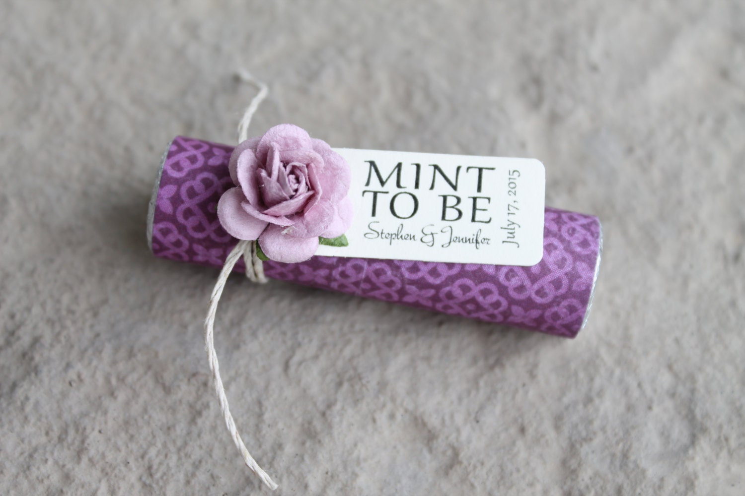 24 Purple Wedding Favors With A Personalized Tag Custom