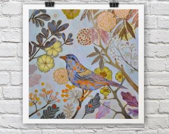 Blue Bird print / AUTUMN BIRD / A4 / A3 Signed Inkjet Fine Art Print