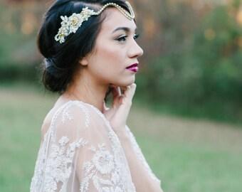Bridal Headband. Gold Beaded Bridal Hair Piece. Bridal Headpiece {Natalia}