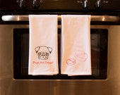 Pugs Not Drugs Kitchen Towels, Set of 2