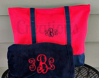 Monogrammed Tote Bag and Personalized Blanket, Monogrammed Gift Set, Monogrammed Holiday Gift, Housewarming Gift, Bridal Party, Bridesmaids
