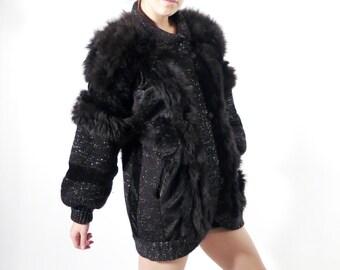 Vintage Black Cardigan / Fur Cardigan / Black Cardigan / 90s Cardigan / Avant Garde /  Large Cardigan