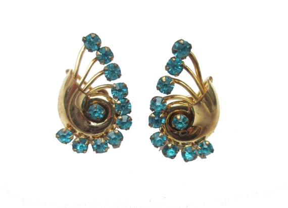Blue Rhinestone EArrings - Art Deco Gold Plated - signed 1/20 12 kt gf CM screw back earrings