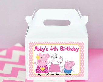 Peppa Pig Birthday Party Personalized Gift Gable Boxes Labels only- Set of 12