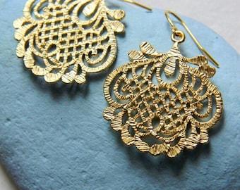 Golden Lotus Filigree Earrings