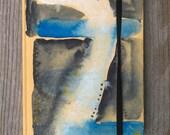 watercolour notebook, black & blue sketch book, hand painted art journal, A6 stocking stuffer
