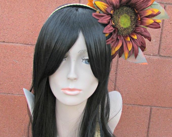 Fall Sunflower Headdress, Asymmetrical Headdress, Sunflower Headband, Floral Headband, Day of the Dead, Halloween, Festival, Wedding, Autum