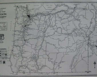 1927 Antique OREGON Map of Oregon AUTO TRAIL Map Oregon Road Map Black and White Map  Vintage 1920s Atlas Map  Plaindealing 6288
