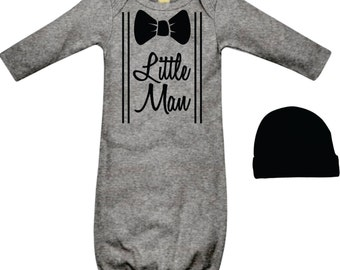 Baby Boys Hospital Take Home Clothes Newborn Baby Boy Outfit Little Man Grey and Black Tie Bow Tie