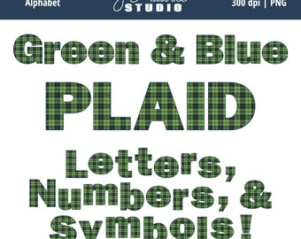 Digital Alphabet Letters Clipart-Green Blue Plaid-School-Elements-Numbers-Alphas-Scrapbooking-Tartan-Invitations-Instant Download Clip Art