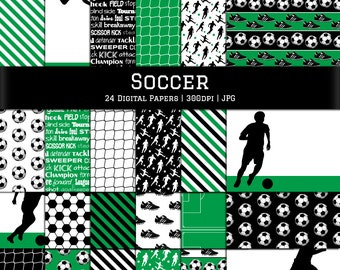 Digital Scrapbook Papers-Soccer Papers-Soccer Background-Soccer Clipart-Soccer Ball-Field-Net-Sports Backgrounds-Instant Download Clip Art