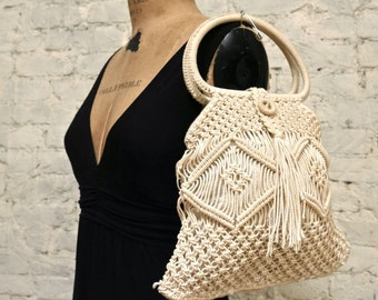 60s Macrame Crochet Bag - All Hand Made