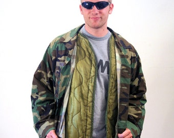 90s US Air Force Jacket, Woodland Camo Jacket, Hot Weather Coat Extreme Cold Quilted Liner, USAF Fire Coat, Airman First Class, L