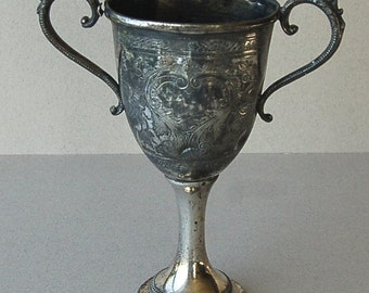 Antique pewter loving cup Pewter trophy cup Victorian chalice Pewter drinking cup Engraved trophy Pineapples engraving Aanthus leaves