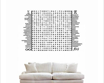 Science Mathematics word puzzle Extra Large vinyl wall decal - lettering game decal for playroom classroom