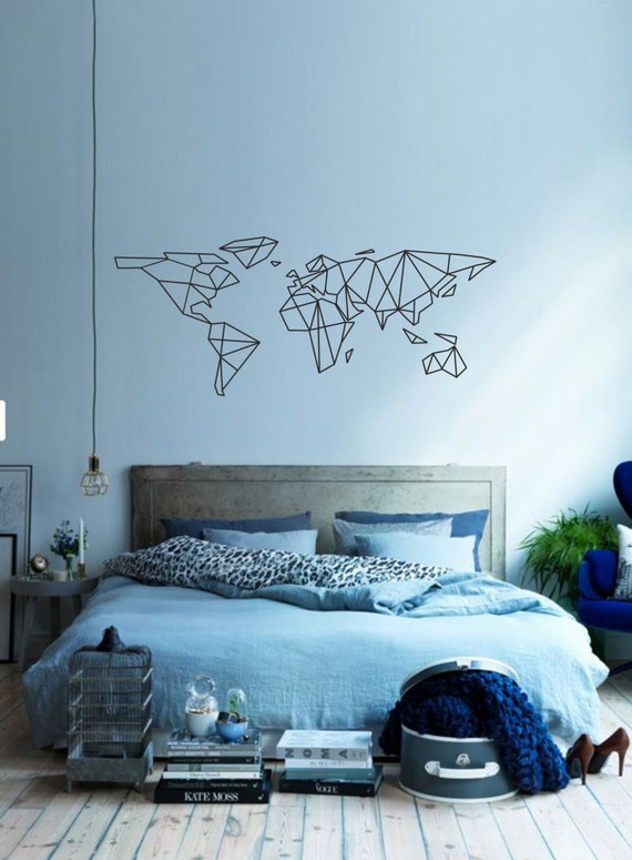 Science art geometric world map vinyl wall decal sticker like this item gumiabroncs Choice Image
