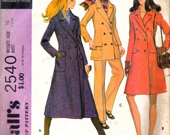 Vintage 1970 McCall's 2540 Coat in Two Lengths, Jacket & Pants Sewing Pattern Size 10 Bust 32 1/2""