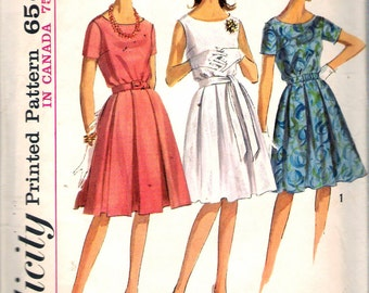 Vintage 1965 Simplicity 5865 Misses One-Piece Dress in Proportioned Sizes Sewing Pattern Size 14 Bust 34""