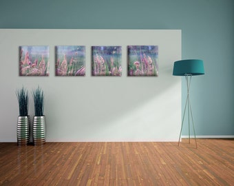 Collection of 4 purple art prints on canvas - nature art on canvas - ready to hang - housewarming gift