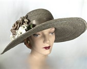 Taupe Womens Straw Hat, Kentucky Derby Hat, Taupe Easter Hat, Wide Brim Hat
