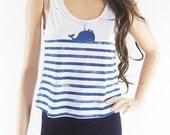 Whale Fish Sea Ocean shirt women tank top crop tank size S