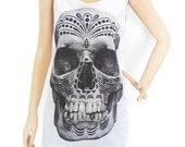 Skull T Shirt Skull Tank Top (Unisex - Tshirt) Women Tshirt Men Tshirt Graphic Tank Top Tunic Screen Print Size M