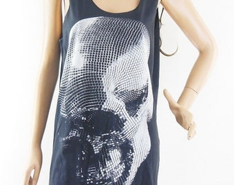 Skull tank top Skull Tshirt Skull Shirt Graphic Tank Top Rock Shirt men tank top women tank top sleeveless size M