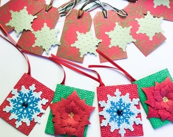 Handmade Christmas gift tags: Red and Antique gold - traditional tags - holiday tags - red - green - Snowflake gift tags - Poinsettia tags