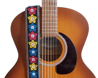 Hemp Guitar Strap - Vintage Mod Flowers Woven Ribbon on Organic Hemp Webbing - Vintage Style Strap - Acoustic, Electric and Bass Guitars
