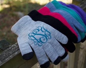 Monogram Gloves - Texting Gloves - Touchscreen Friendly